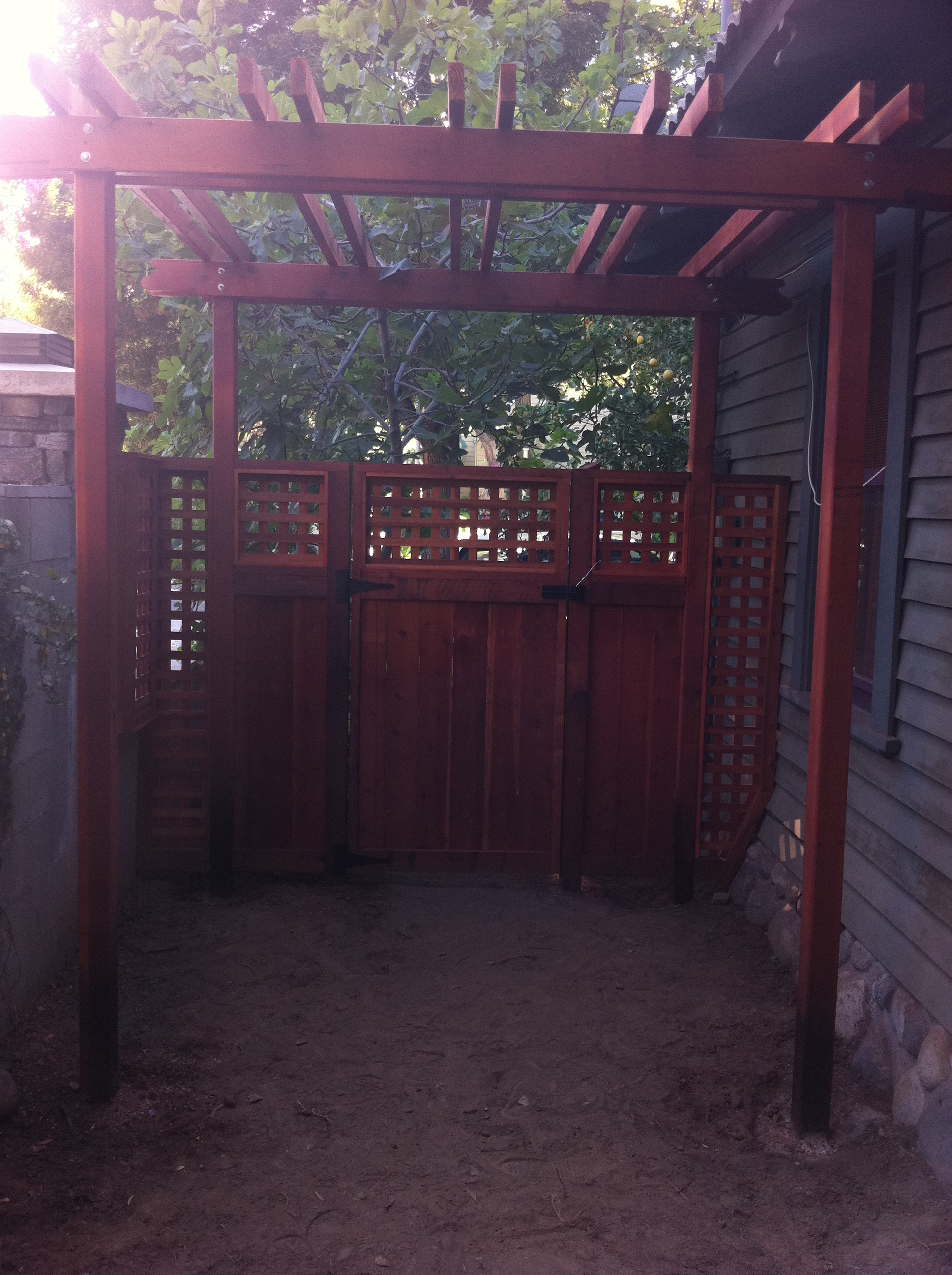 Redwood gate with trellis and pergola