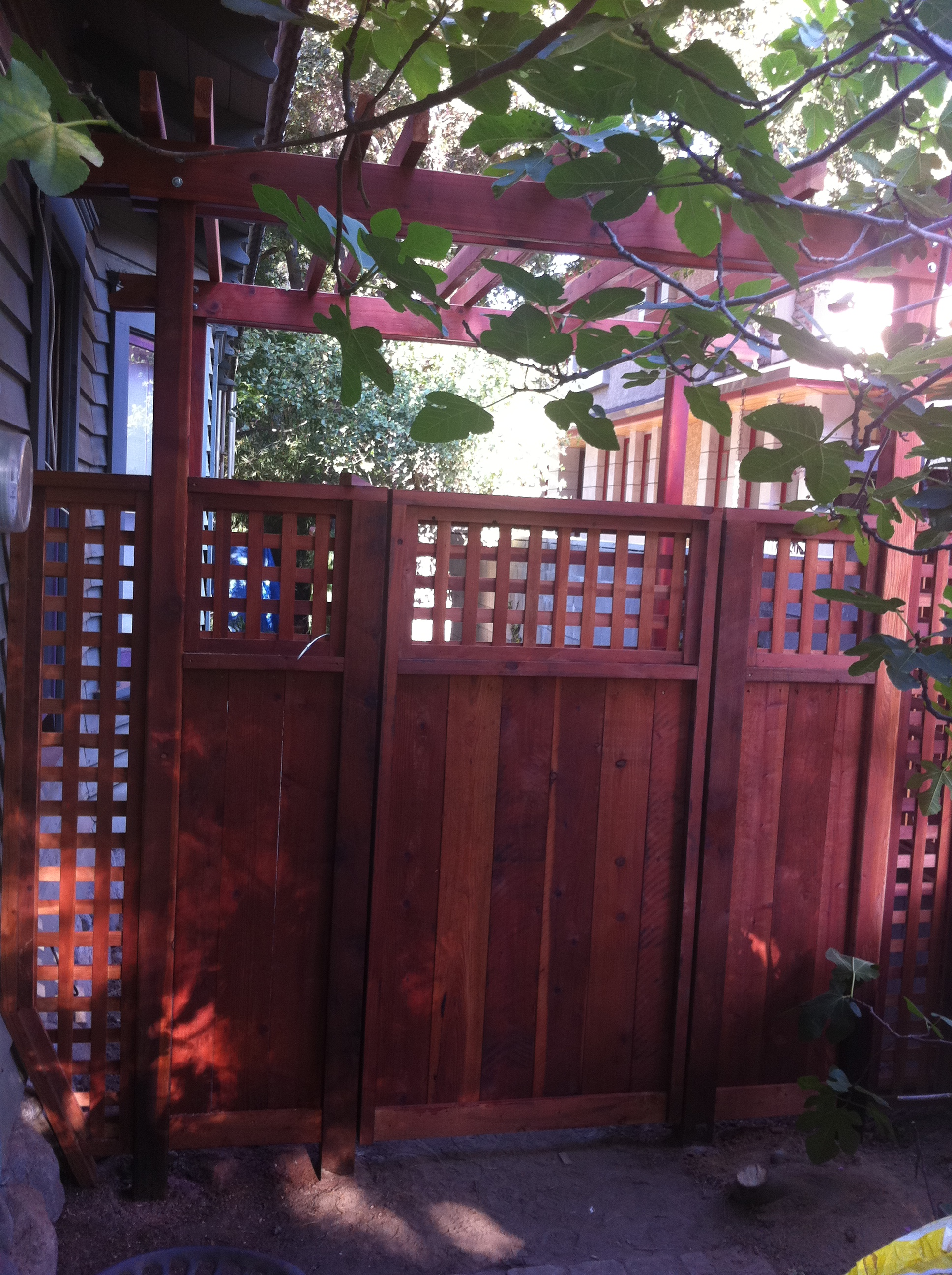 Redwood gate with trellis detail