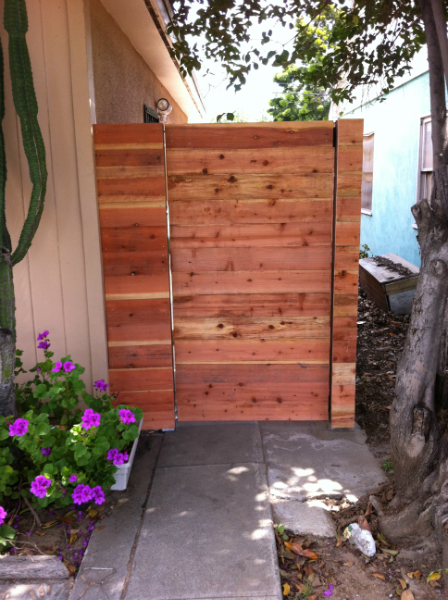 Contempory Redwood horizontal style gate