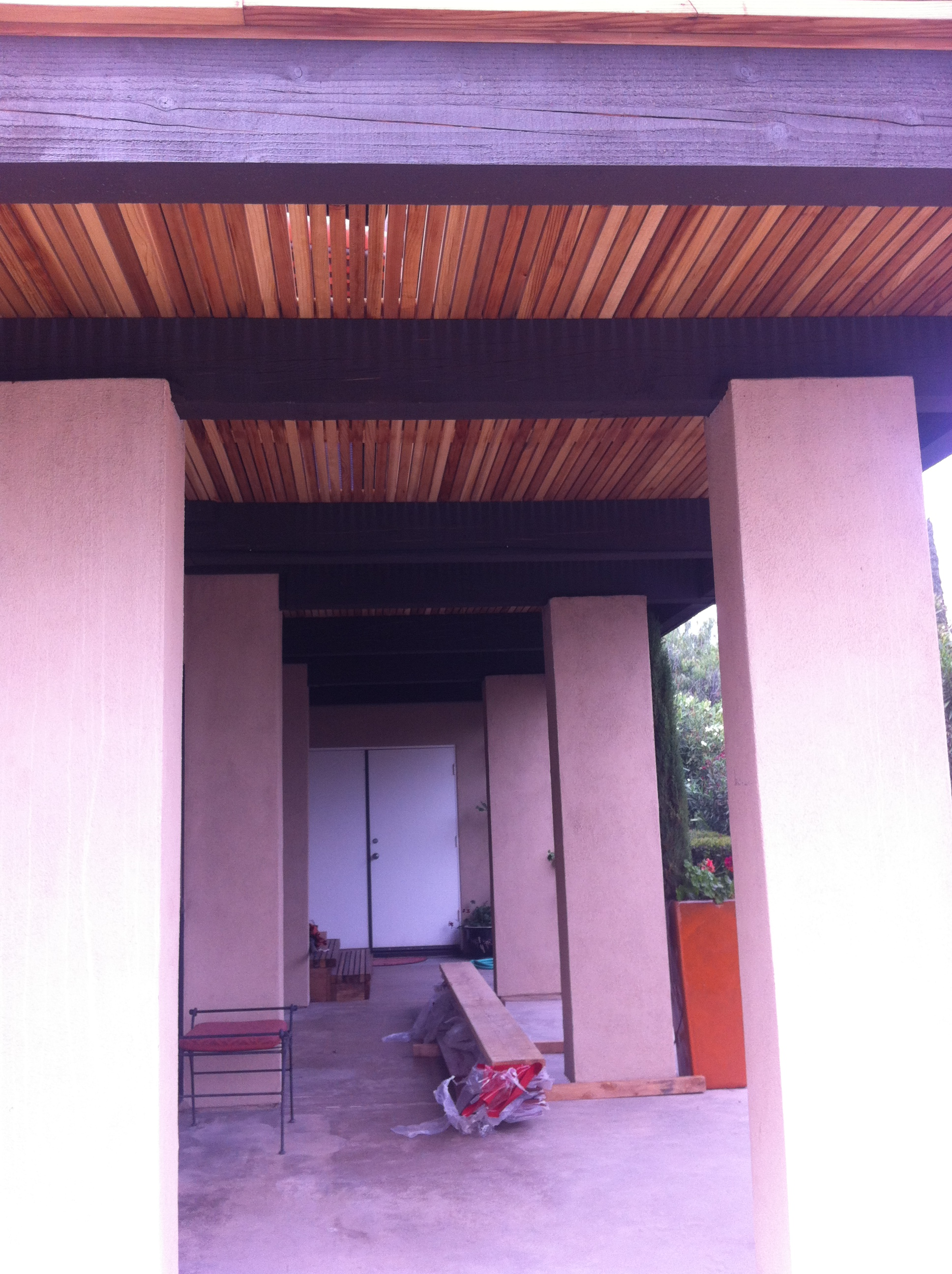 Redwood deck structure