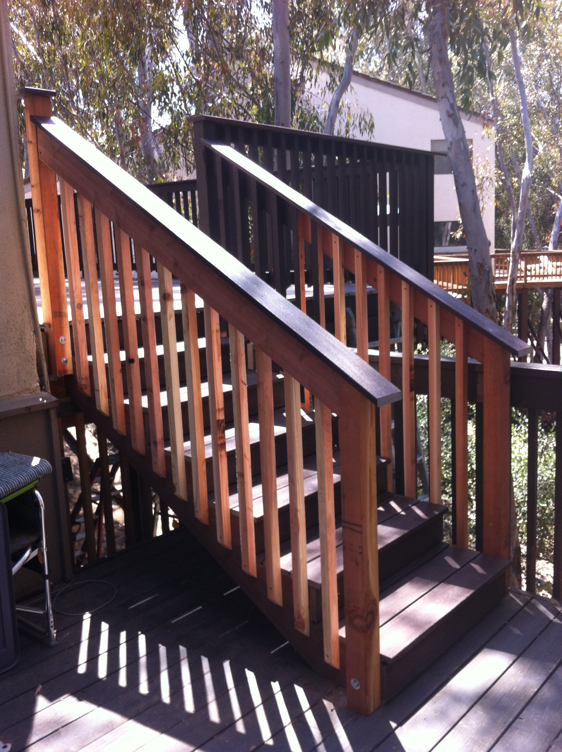 Composite stairs with redwood ballusters