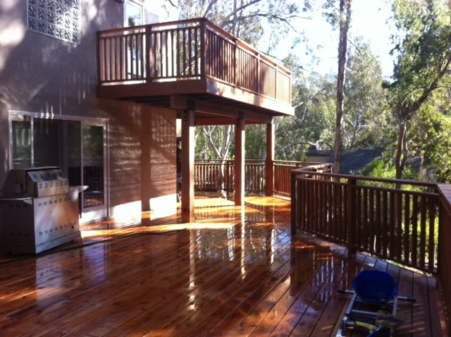 Double redwood deck