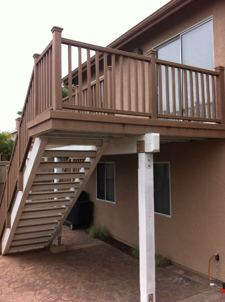Composite deck with stairs and guardrail