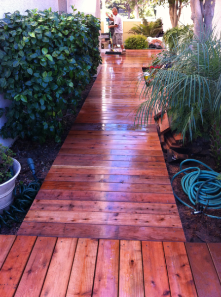 Redwood deck finished with clear sealer