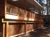 Redwood deck with roor overhang