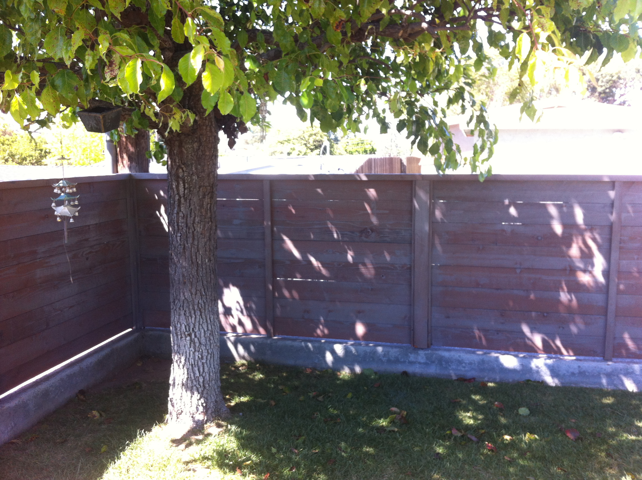 Heart redwood horizontal style fence (stained)