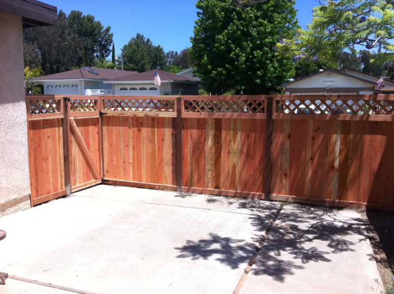 Redwood with trellis fence