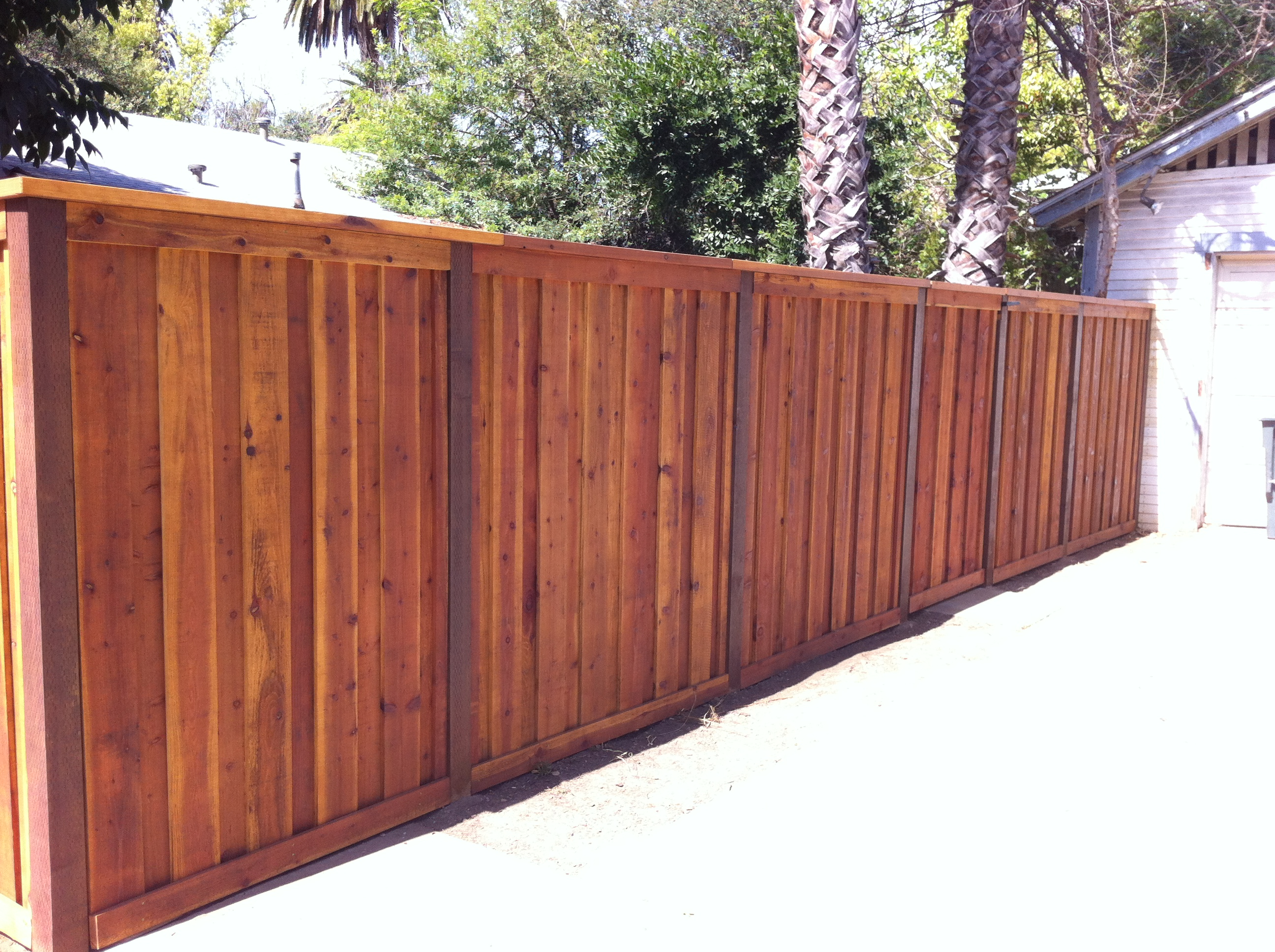 Redwood board on board style fence