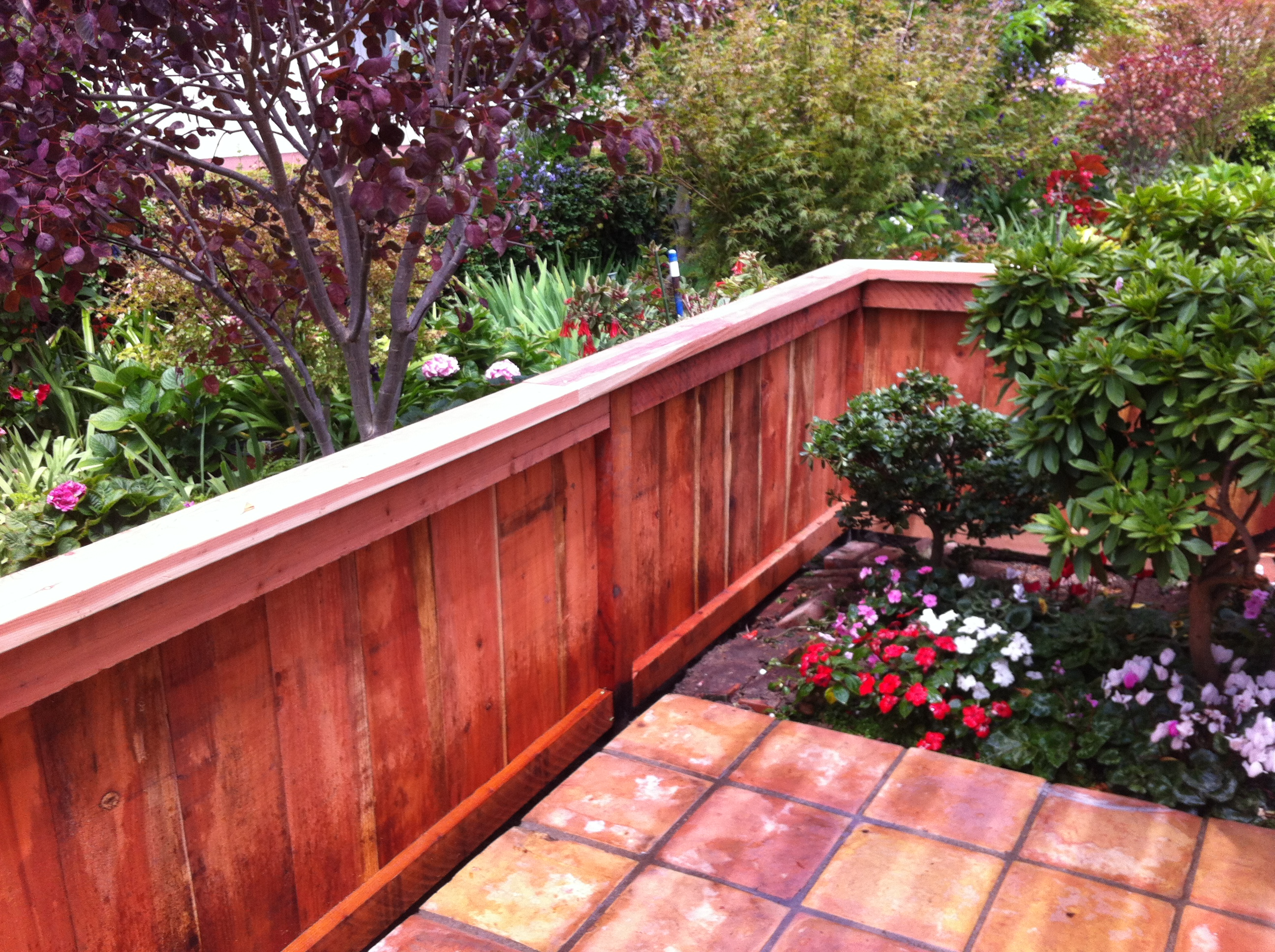 4' redwood trim  and cap style fence