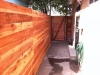 Contempory horizontal redwood fence using 1x6