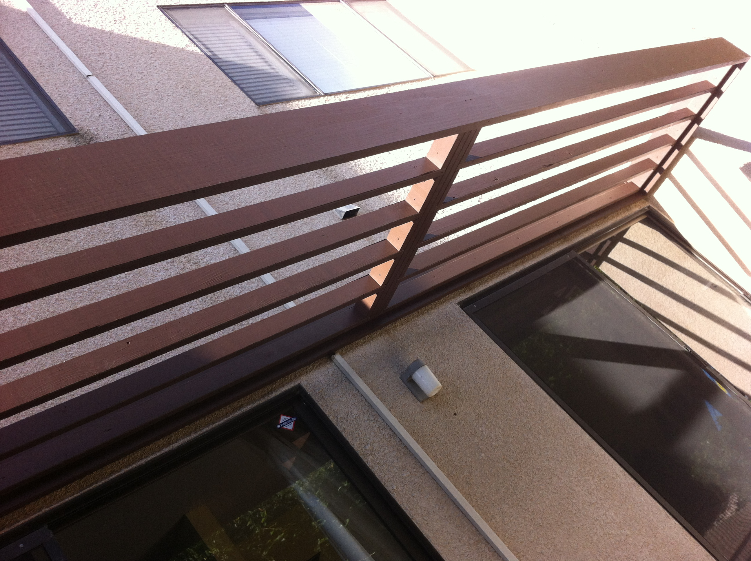 Stained Redwood contempory patio cover