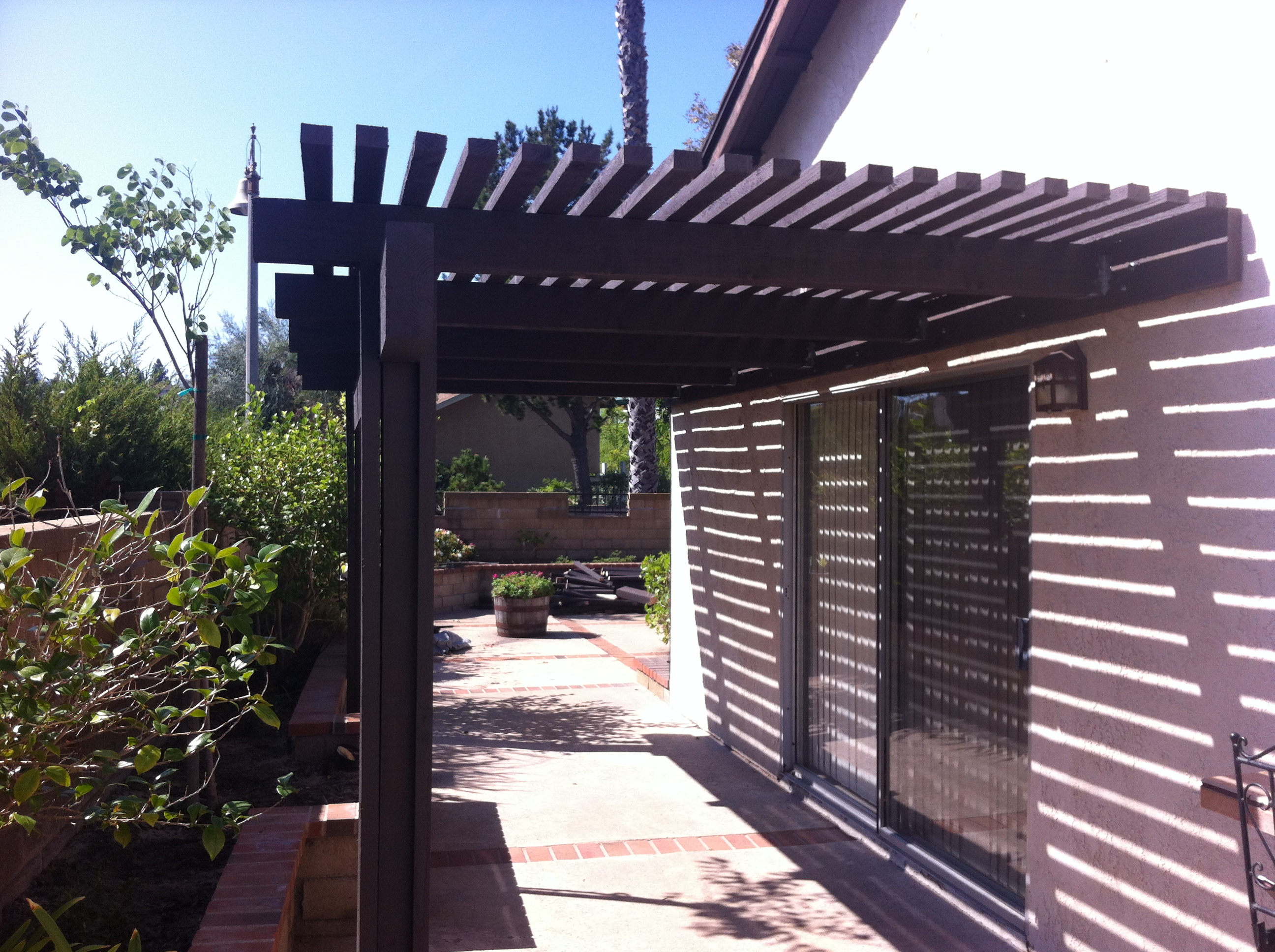 Painted doug fir patio cover